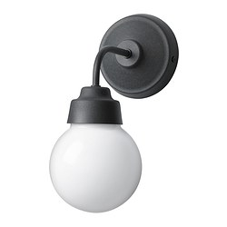 VITEMÖLLA wall lamp, metal, glass Height: 28 cm Base diameter: 13 cm Shade diameter: 13 cm