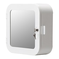 GUNNERN, Lockable mirror cabinet, white
