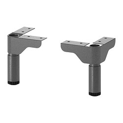 "SILVERÅN leg, gray Min. height: 4 1/2 "" Max. height: 6 3/4 "" Package quantity: 2 pack Min. height: 11.5 cm Max. height: 17 cm Package quantity: 2 pack"