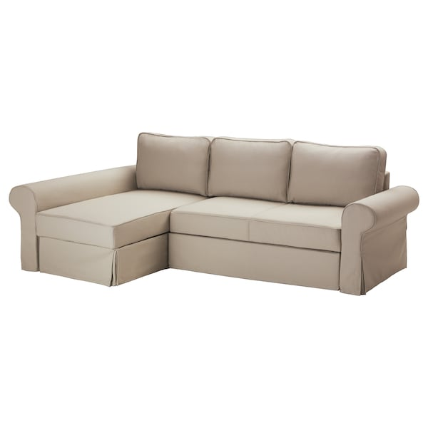 Sofa Bed With Chaise Longue Backabro Tygelsjo Beige