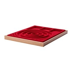 KOMPLEMENT pull-out tray with jewellery insert, red, oak effect Width: 50 cm Depth: 58 cm