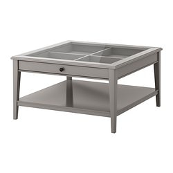 LIATORP, Coffee table, gray, glass