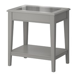 LIATORP side table, gray, glass