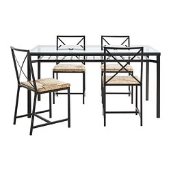 GRANÅS table and 4 chairs, glass, black Table length: 146 cm Table width: 78 cm Table height: 75 cm