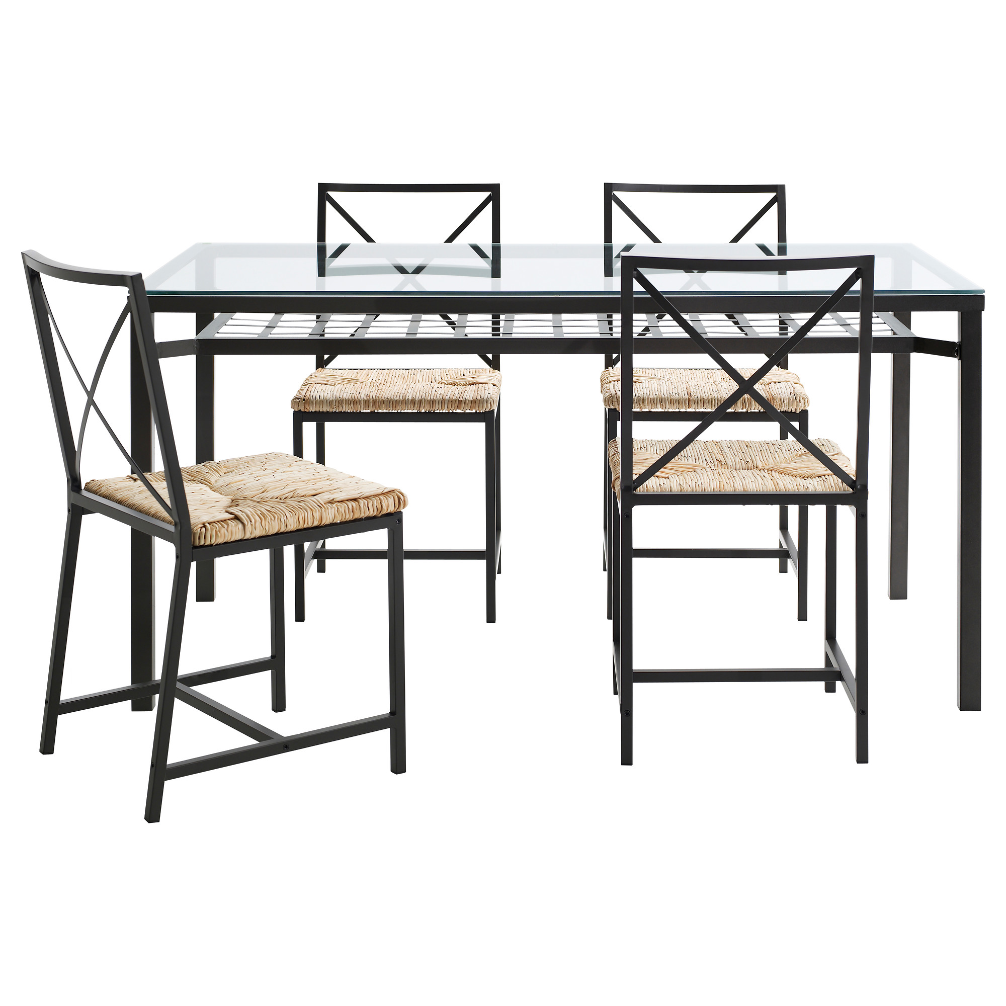 granas table and  chairs black glass table length   : dining room sets ikea