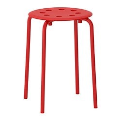 MARIUS stool, red Tested for: 100 kg Seat diameter: 32 cm Width: 40 cm