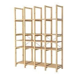 "IVAR 4 sections with shelves, pine Width: 70 1/2 "" Depth: 19 5/8 "" Height: 89 "" Width: 179 cm Depth: 50 cm Height: 226 cm"