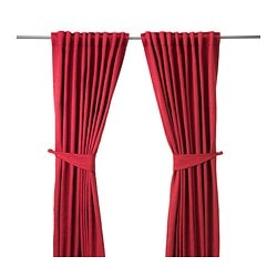 BLEKVIVA curtains with tie-backs, 1 pair, red Length: 300 cm Width: 145 cm Weight: 2.77 kg