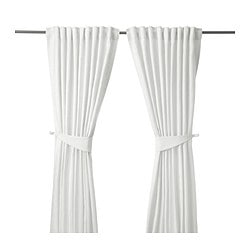 BLEKVIVA curtains with tie-backs, 1 pair, white Length: 300 cm Width: 145 cm Weight: 2.77 kg