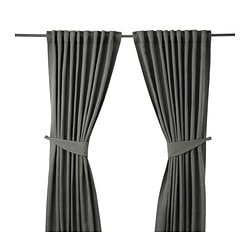 BLEKVIVA curtains with tie-backs, 1 pair, grey Length: 300 cm Width: 145 cm Weight: 2.77 kg