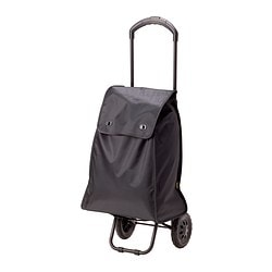 "KNALLA shopping bag with wheels, black Length: 16 1/8 "" Depth: 9 ¾ "" Height: 20 "" Length: 41 cm Depth: 25 cm Height: 51 cm"