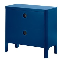 BUSUNGE chest of 2 drawers, medium blue Width: 80 cm Depth: 40 cm Depth of drawer (inside): 35 cm