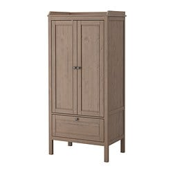 SUNDVIK wardrobe, grey-brown Width: 80 cm Depth: 50 cm Free height under furniture: 18 cm