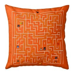 SLINGRIG cushion, orange, white Length: 40 cm Width: 40 cm Filling weight: 200 g