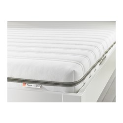 MALVIK foam mattress, white, medium firm Length: 189 cm Width: 135 cm Thickness: 14 cm
