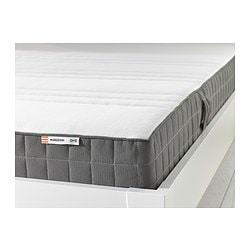 "MORGEDAL foam mattress, medium firm, dark gray Length: 74 3/8 "" Width: 38 1/4 "" Thickness: 7 1/8 "" Length: 189 cm Width: 97 cm Thickness: 18 cm"