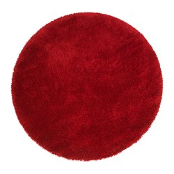 ÅDUM rug, high pile, bright red Diameter: 130 cm Area: 1.33 m² Surface density: 3300 g/m²