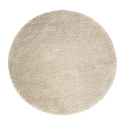 "ÅDUM rug, high pile, off-white Diameter: 51 1/8 "" Thickness: ¾ "" Area: 14.32 sq feet Diameter: 130 cm Thickness: 18 mm Area: 1.33 m²"