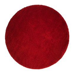 "ÅDUM rug, high pile, bright red Diameter: 76 3/4 "" Area: 32.18 sq feet Surface density: 10.81 oz/sq ft Diameter: 195 cm Area: 2.99 m² Surface density: 3300 g/m²"