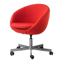 SKRUVSTA swivel chair, Vissle red-orange Tested for: 110 kg Min. height: 79 cm Max. height: 86 cm