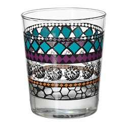 MURKLA glass, patterned multicolour Height: 10 cm Volume: 23 cl