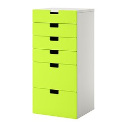 "STUVA storage combination with drawers, green, white Width: 23 5/8 "" Depth: 19 5/8 "" Height: 50 3/8 "" Width: 60 cm Depth: 50 cm Height: 128 cm"