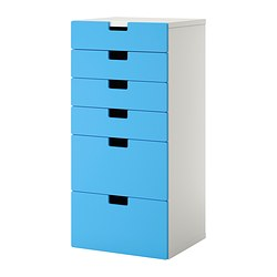 STUVA storage combination with drawers, blue, white Width: 60 cm Depth: 50 cm Height: 128 cm