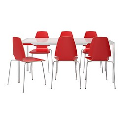 TORSBY /  VILMAR table and 6 chairs, red, glass white Length: 180 cm Width: 85 cm Height: 73 cm