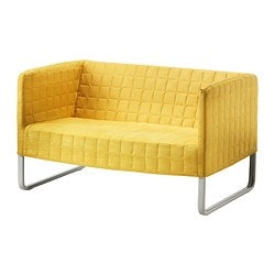 "KNOPPARP loveseat, bright yellow Width: 46 7/8 "" Depth: 29 7/8 "" Height under furniture: 8 1/4 "" Width: 119 cm Depth: 76 cm Height under furniture: 21 cm"