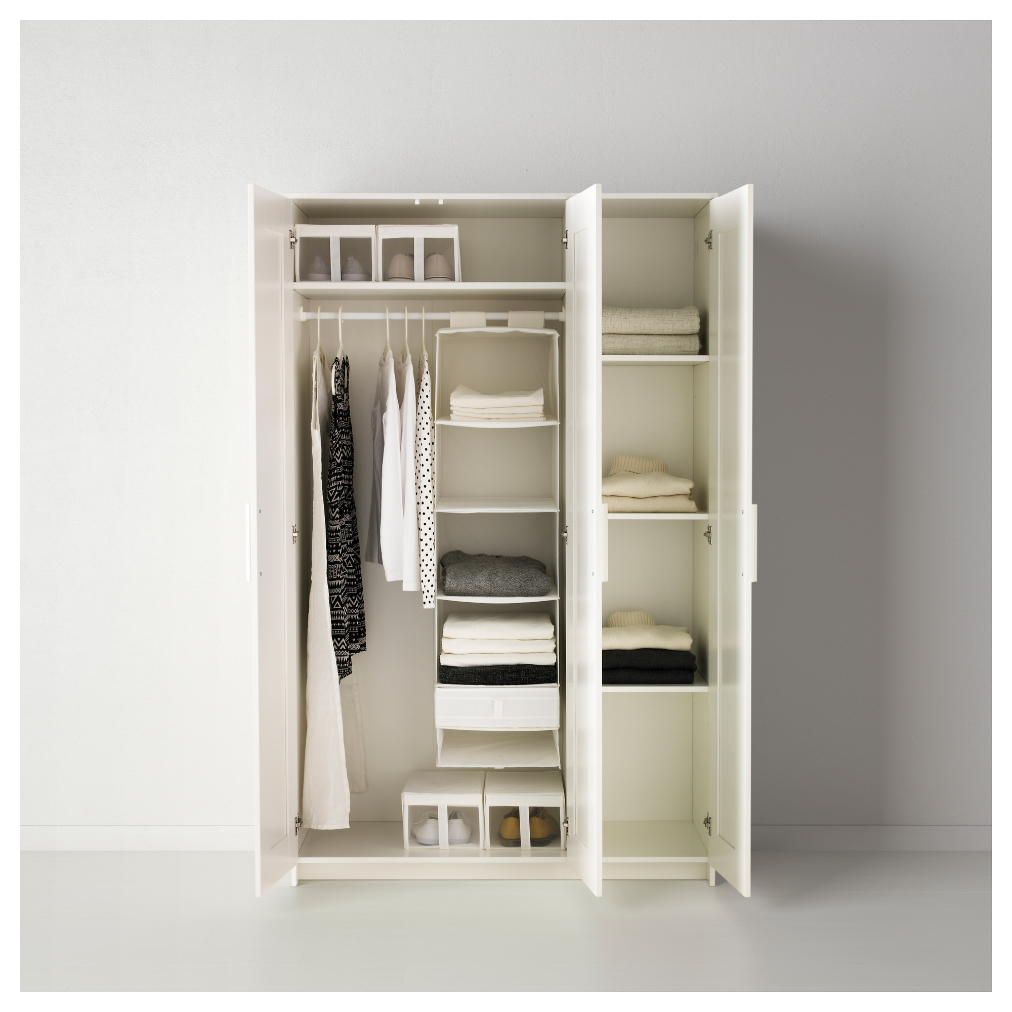 2 Door Cupboard Inside Designs brimnes wardrobe with 3 doors - white - ikea