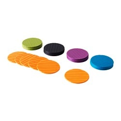 PANNÅ coaster, assorted colours Diameter: 10 cm Package quantity: 6 pieces