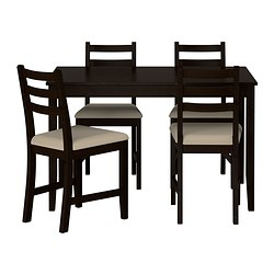 LERHAMN, Table and 4 chairs, black-brown, Vittaryd beige