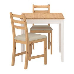 LERHAMN table and 2 chairs, Vittaryd beige, light antique stain Length: 74 cm Width: 74 cm Height: 73 cm