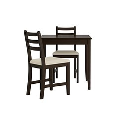 LERHAMN, Table and 2 chairs, black-brown, Vittaryd beige