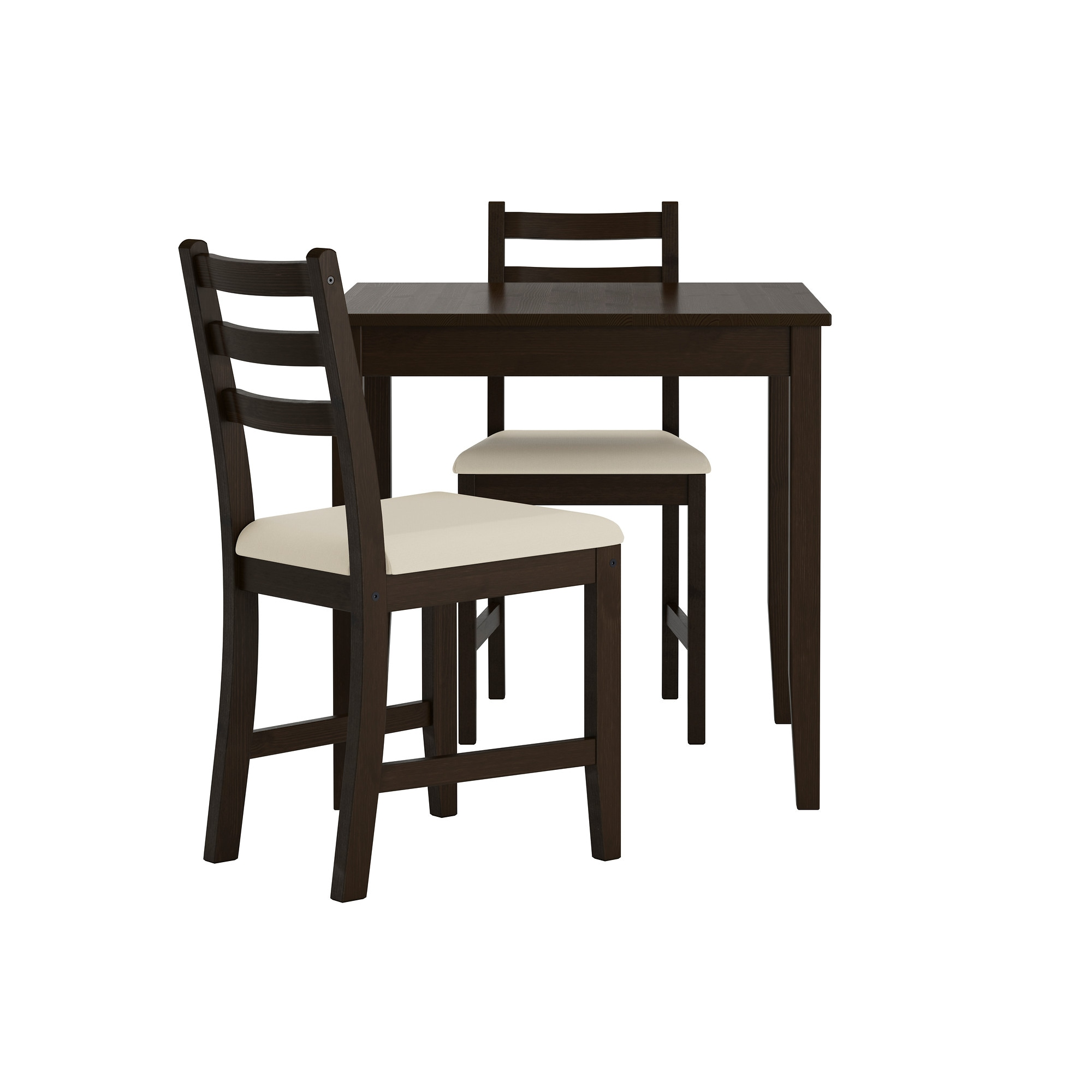 two seat kitchen table LERHAMN table and 2 chairs black brown Vittaryd beige Length 29 1