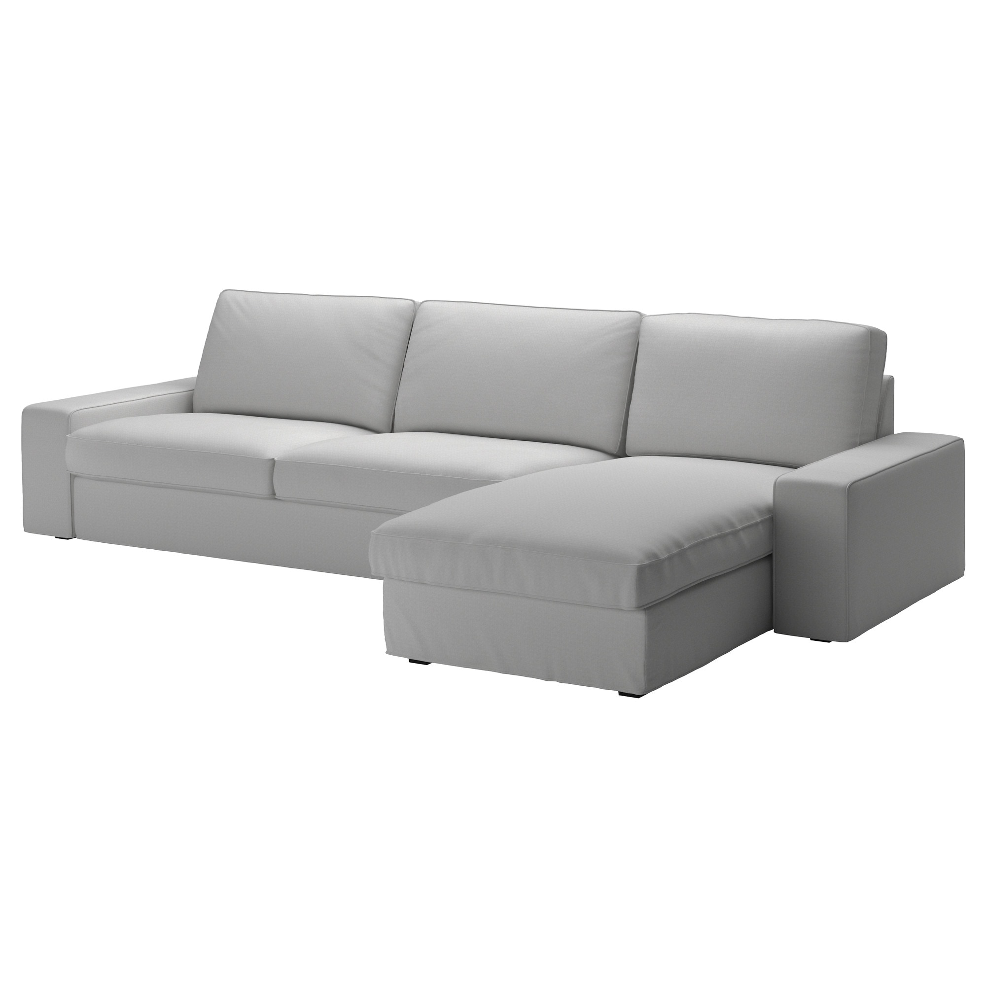 KIVIK Three seat sofa and chaise longue Orrsta light grey IKEA