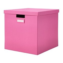 "TJENA box with lid, pink Width: 12 ½ "" Depth: 13 ¾ "" Height: 12 ½ "" Width: 32 cm Depth: 35 cm Height: 32 cm"