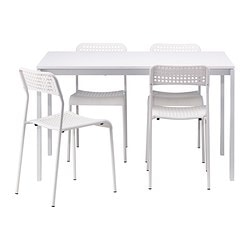 MELLTORP /  ADDE table and 4 chairs, white