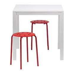 "MELLTORP /  MARIUS table and 2 stools, red, white Length: 29 1/2 "" Width: 29 1/2 "" Height: 28 3/8 "" Length: 75 cm Width: 75 cm Height: 72 cm"