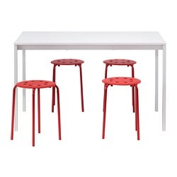 "MELLTORP /  MARIUS table and 4 stools, red, white Length: 49 1/4 "" Width: 29 1/2 "" Height: 28 3/8 "" Length: 125 cm Width: 75 cm Height: 72 cm"