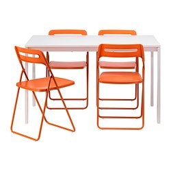 MELLTORP /  NISSE table and 4 chairs, orange, white Length: 125 cm Width: 75 cm Height: 72 cm