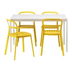 MELLTORP /  REIDAR table and 4 chairs, yellow, white Length: 125 cm Width: 75 cm Height: 72 cm