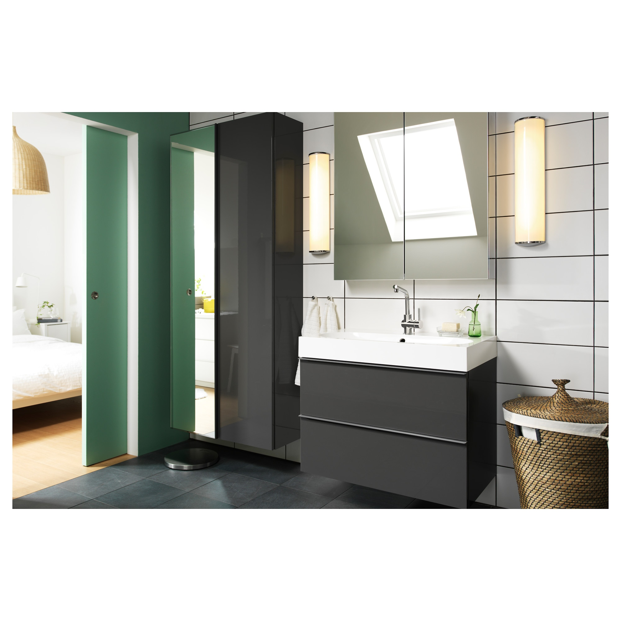 "2 Door Cupboard Inside Designs godmorgon mirror cabinet with 2 doors - 23 5/8x5 1/2x37 3/4 "" - ikea"