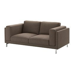 NOCKEBY two-seat sofa, chrome-plated, Tenö brown Width: 203 cm Depth: 97 cm Free height under furniture: 15 cm