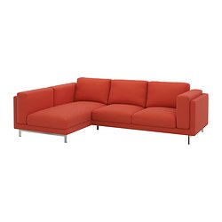 NOCKEBY cover two-seat sofa w chaise longue, Risane orange, left