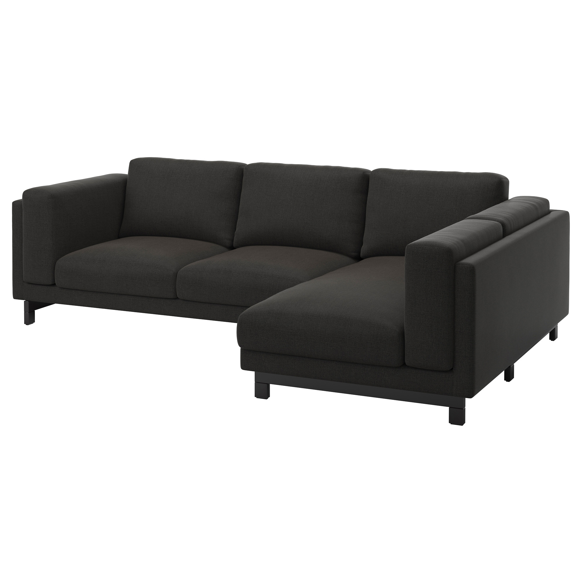 NOCKEBY Sofa right Tenö dark gray with chaise wood IKEA