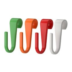 BYGEL s-hook, assorted colours Depth: 35 mm Width: 15 mm / 15 mm Package quantity: 6 pack