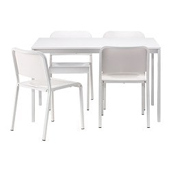 "MELLTORP table and 4 chairs, white Length: 49 1/4 "" Width: 29 1/2 "" Height: 28 3/8 "" Length: 125 cm Width: 75 cm Height: 72 cm"