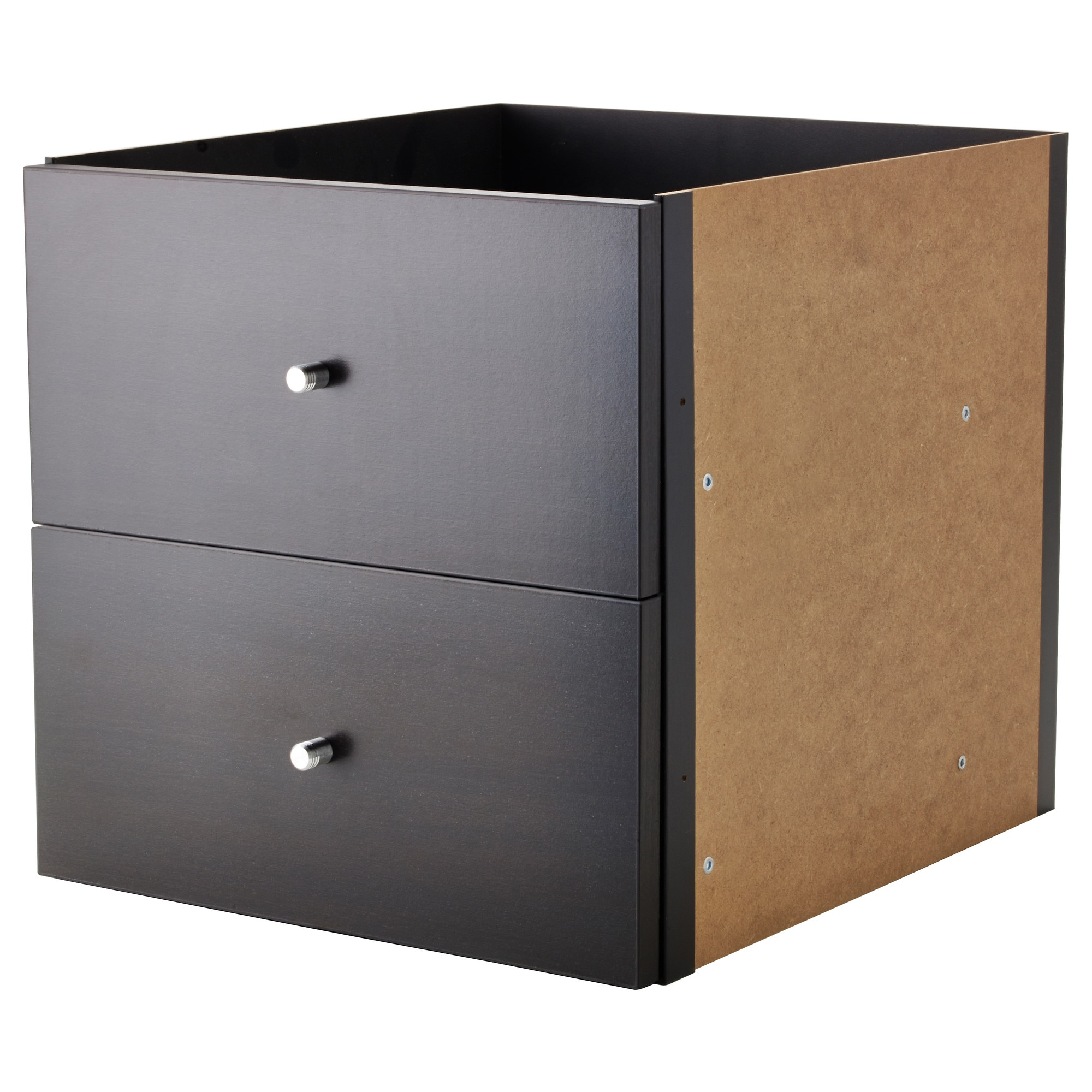 kallax insert with 2 drawers black brown ikea