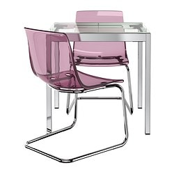 GLIVARP /  TOBIAS table and 2 chairs, transparent, chrome-plated lilac Length: 75 cm Max. length: 115 cm Width: 70 cm